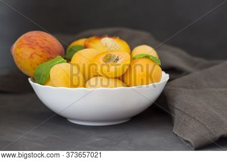 Fresh Fruits. Healthy Food. Mixed Fruits, Apricots And Peaches. Studio Photography Of Various Fruits