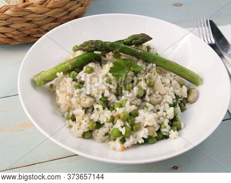 Italian Style Pea And Board Bean Risotto