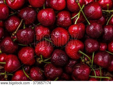 Full Frame Shot Of Wet Red Cherries.fresh Red Cherries. Texture Cherries Fruits Close Up. Cherry Fru