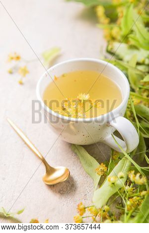Cup Of Herbal Tea With Linden Flowers. Tea From Linden. Fresh Flowering Linden On A Wooden Backgroun