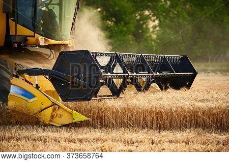 Cutting Bar Unit Or Reaper Machine Cuts Stems. Combine Harvester Working In Wheat Field. Harvesting