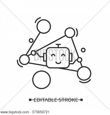 Social Networking Icon. Friendly Robot Line Pictogram In Linked Data Graph. Concept Of Social Media