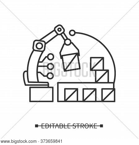 Ai In E-commerce Icon. Robot Handling Order Shipment And Storage. Linear Concept Pictogram For Inter