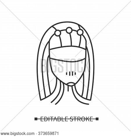Smart Personal Assistant Icon. Female Robot Head With Data Connection Interface. Concept Pictogram F