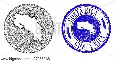 Mesh Inverted Round Costa Rica Map And Grunge Stamp. Costa Rica Map Is Inverted In A Round Seal. Web