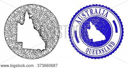 Mesh Subtracted Round Australian Queensland Map And Grunge Stamp. Australian Queensland Map Is Carve
