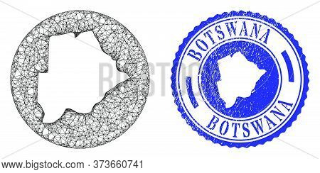 Mesh Hole Round Botswana Map And Grunge Seal. Botswana Map Is A Hole In A Round Stamp Seal. Web Mesh