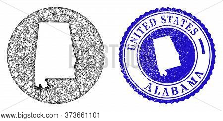 Mesh Stencil Round Alabama State Map And Grunge Seal Stamp. Alabama State Map Is Stencil In A Circle