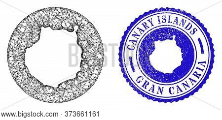 Mesh Hole Round Gran Canaria Map And Scratched Seal Stamp. Gran Canaria Map Is Inverted In A Round S