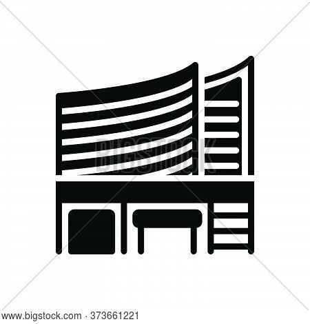 Black Solid Icon For Office Building Bureau Place-of-work Workspace