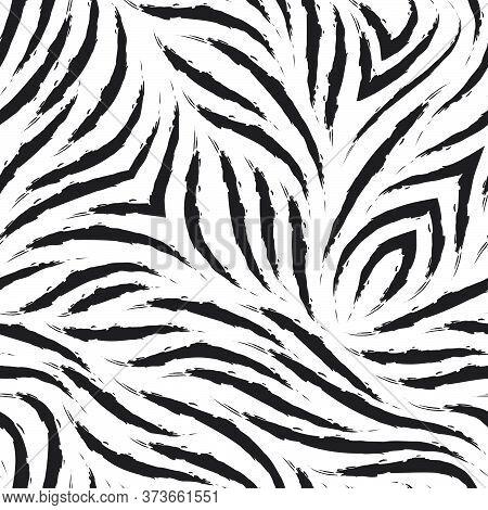 Vector Zebra Skin Seamless Pattern. Black And White Zebra Fur Texture. Monochrome Print For Clothes