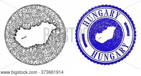 Mesh Stencil Round Hungary Map And Grunge Seal Stamp. Hungary Map Is Stencil In A Circle Stamp. Web