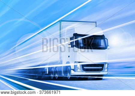 White big truck moving on highway