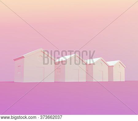 Small Pink Houses, Futuristic Town Block Abstract Representation, Street, Quarter. 3d Illustration