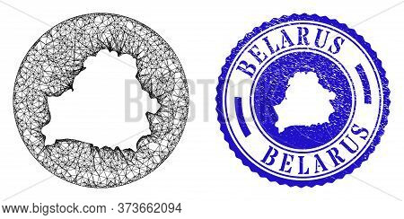 Mesh Hole Round Belarus Map And Scratched Stamp. Belarus Map Is Inverted In A Circle Seal. Web Mesh