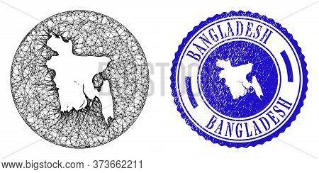 Mesh Stencil Round Bangladesh Map And Grunge Stamp. Bangladesh Map Is A Hole In A Round Stamp Seal.