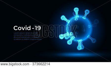 Corona Virus. Vector 3d Microbe On Black Background. Covid - 19. Futuristic Virus Protection Microbi