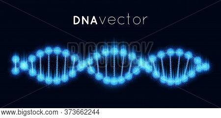 Vector Polygonal Dna Structure Molecule Helix, Spiral On Blure Background. Medical Science, Chemistr