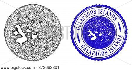Mesh Stencil Round Galapagos Islands Map And Scratched Seal Stamp. Galapagos Islands Map Is Carved I