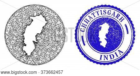 Mesh Stencil Round Chhattisgarh State Map And Scratched Seal Stamp. Chhattisgarh State Map Is Stenci