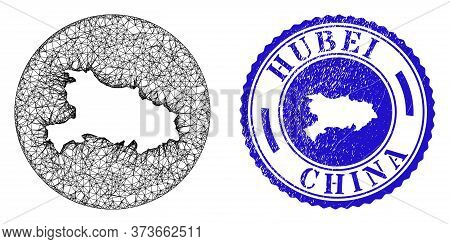 Mesh Subtracted Round Hubei Province Map And Grunge Seal Stamp. Hubei Province Map Is Stencil In A R