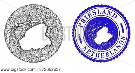Mesh Inverted Round Friesland Province Map And Scratched Seal Stamp. Friesland Province Map Is Carve
