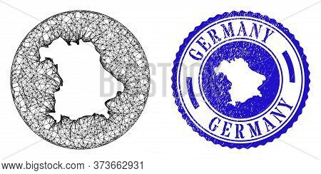Mesh Stencil Round Germany Map And Scratched Seal. Germany Map Is A Hole In A Round Stamp Seal. Web