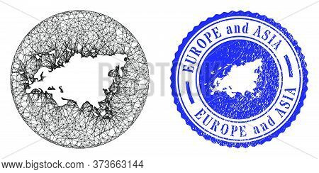 Mesh Inverted Round Europe And Asia Map And Grunge Seal Stamp. Europe And Asia Map Is Stencil In A R