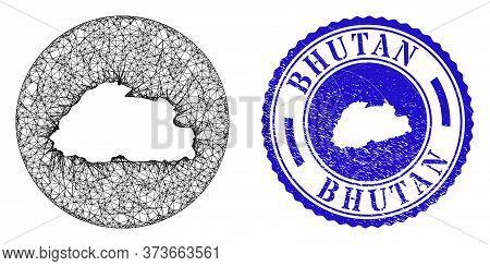 Mesh Hole Round Bhutan Map And Grunge Seal Stamp. Bhutan Map Is A Hole In A Round Stamp Seal. Web Me