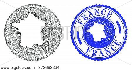Mesh Subtracted Round France Map And Grunge Seal Stamp. France Map Is Inverted In A Round Stamp Seal