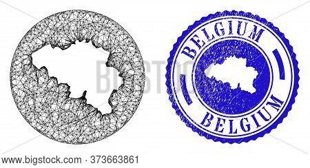 Mesh Hole Round Belgium Map And Grunge Seal Stamp. Belgium Map Is A Hole In A Circle Stamp Seal. Web