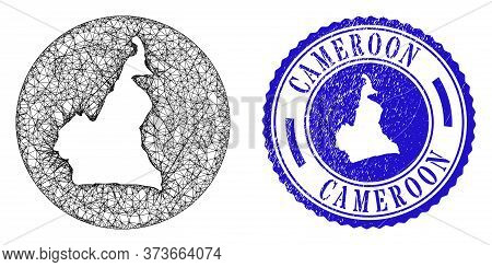 Mesh Stencil Round Cameroon Map And Scratched Seal Stamp. Cameroon Map Is Carved In A Round Stamp. W