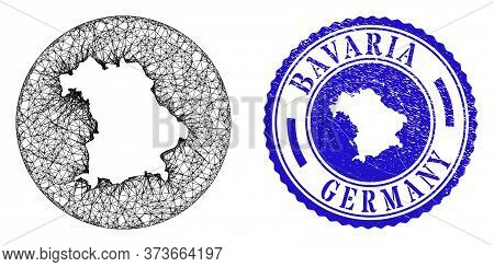 Mesh Stencil Round Bavaria Land Map And Grunge Seal Stamp. Bavaria Land Map Is A Hole In A Circle St