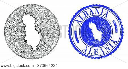 Mesh Stencil Round Albania Map And Grunge Seal. Albania Map Is Carved In A Round Seal. Web Mesh Vect