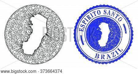 Mesh Hole Round Espirito Santo State Map And Grunge Seal. Espirito Santo State Map Is Stencil In A C