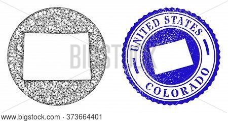 Mesh Hole Round Colorado State Map And Grunge Seal Stamp. Colorado State Map Is Inverted In A Circle