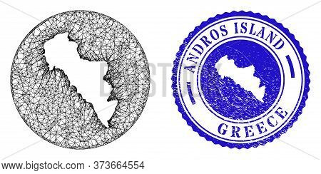 Mesh Hole Round Andros Island Of Greece Map And Grunge Seal Stamp. Andros Island Of Greece Map Is In