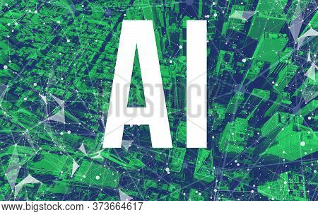 Artificial Intelligence Ai Theme With Abstract Network Patterns And Manhattan Ny Skyscrapers