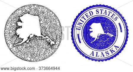 Mesh Inverted Round Alaska Map And Scratched Seal Stamp. Alaska Map Is A Hole In A Round Stamp Seal.