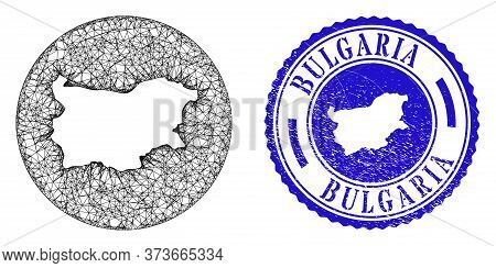 Mesh Inverted Round Bulgaria Map And Grunge Seal. Bulgaria Map Is Inverted In A Round Stamp Seal. We