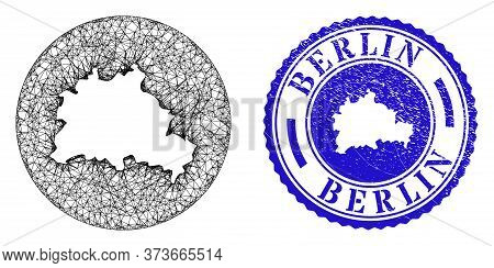 Mesh Hole Round Berlin City Map And Scratched Seal Stamp. Berlin City Map Is Inverted In A Circle Se