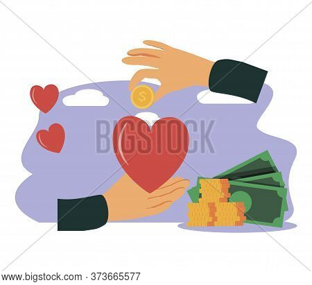 Philanthropy Vector Illustration. Flat Tiny Voluntary Charity Persons Concept. Symbolic Love Of Huma