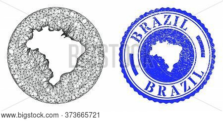 Mesh Hole Round Brazil Map And Grunge Seal Stamp. Brazil Map Is A Hole In A Circle Stamp Seal. Web C