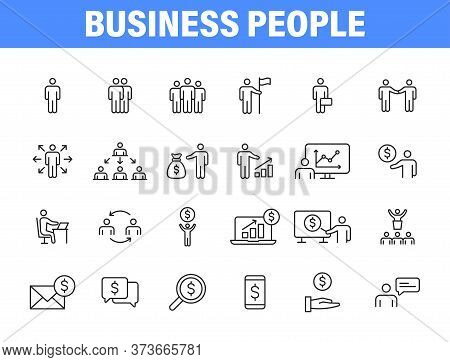 Set Of 24 Business People And Teamwork Web Icons In Line Style. Business, Teamwork, Leadership, Mana