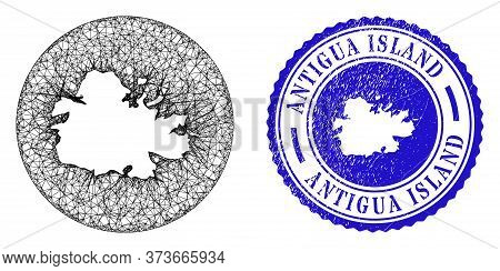Mesh Hole Round Antigua Island Map And Scratched Stamp. Antigua Island Map Is A Hole In A Circle Sta