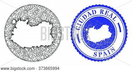 Mesh Stencil Round Ciudad Real Province Map And Grunge Stamp. Ciudad Real Province Map Is A Hole In