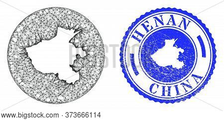 Mesh Inverted Round Henan Province Map And Grunge Seal. Henan Province Map Is Carved In A Circle Sea