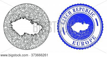Mesh Stencil Round Czech Republic Map And Grunge Seal Stamp. Czech Republic Map Is A Hole In A Circl