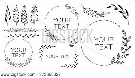 Set Of Black Laurels Branches. Flower Ornament Dividers Collection. Vintage Laurel Wreaths. Hand Dra