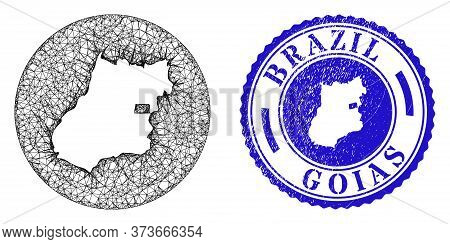 Mesh Inverted Round Goias State Map And Scratched Seal Stamp. Goias State Map Is Inverted In A Round